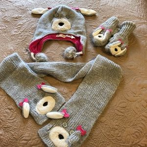 Bear Beanie Hat, Scarf and Mittens
